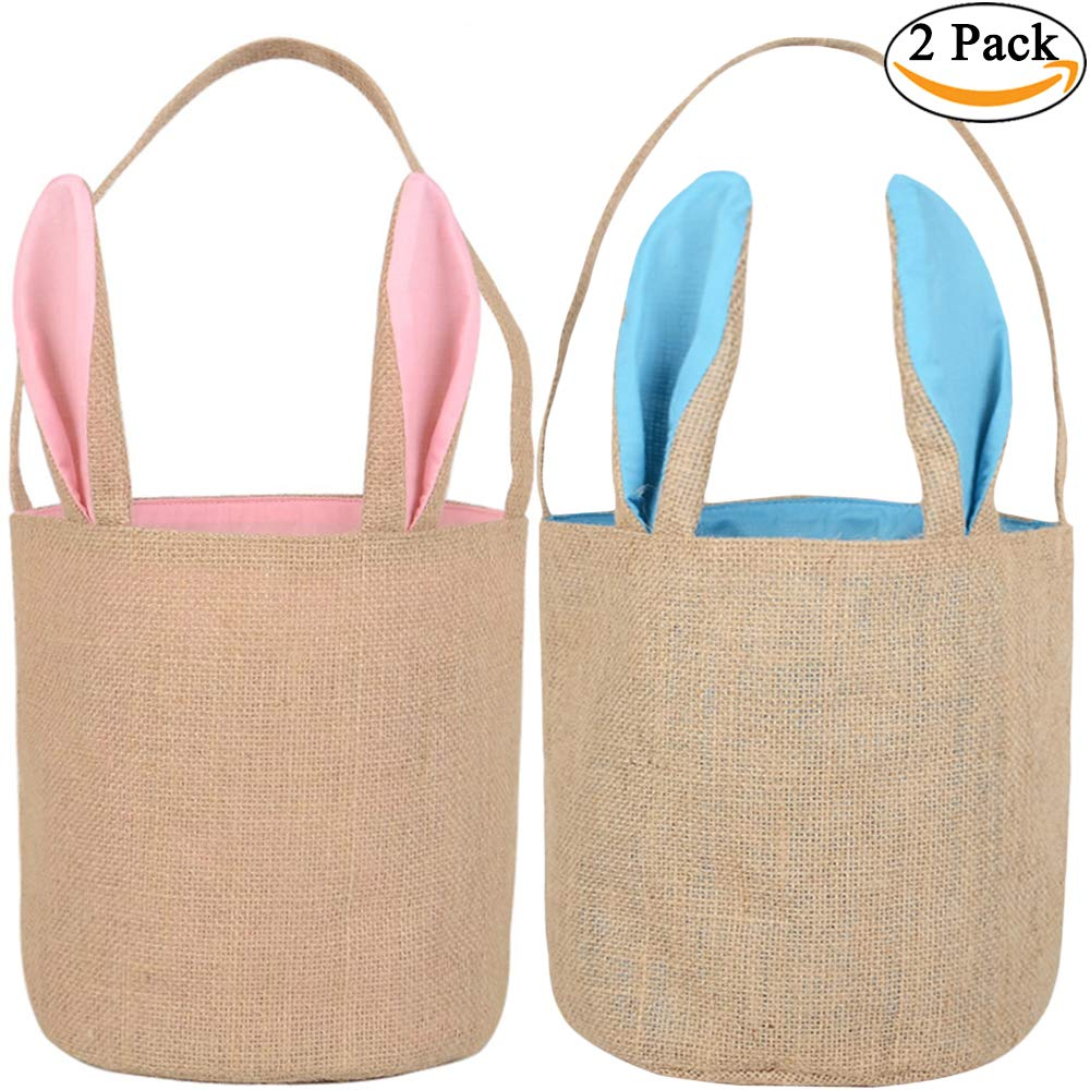 Easter Bunny Egg Baskets for Kids with Cross-Stitch Line Burlap Busket Gift Bag Round Tote Jute Bags for Embroidery DIY Daily Use (2 Pack, Pink + Blue) Y049A