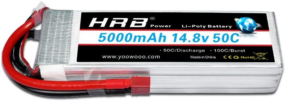 HRB 4s lipo Battery, 14.8v lipo Battery 5000mah 50C Deans T Plug for RC Car, RC Truck, RC Truggy RC Airplane UAV Drone FPV
