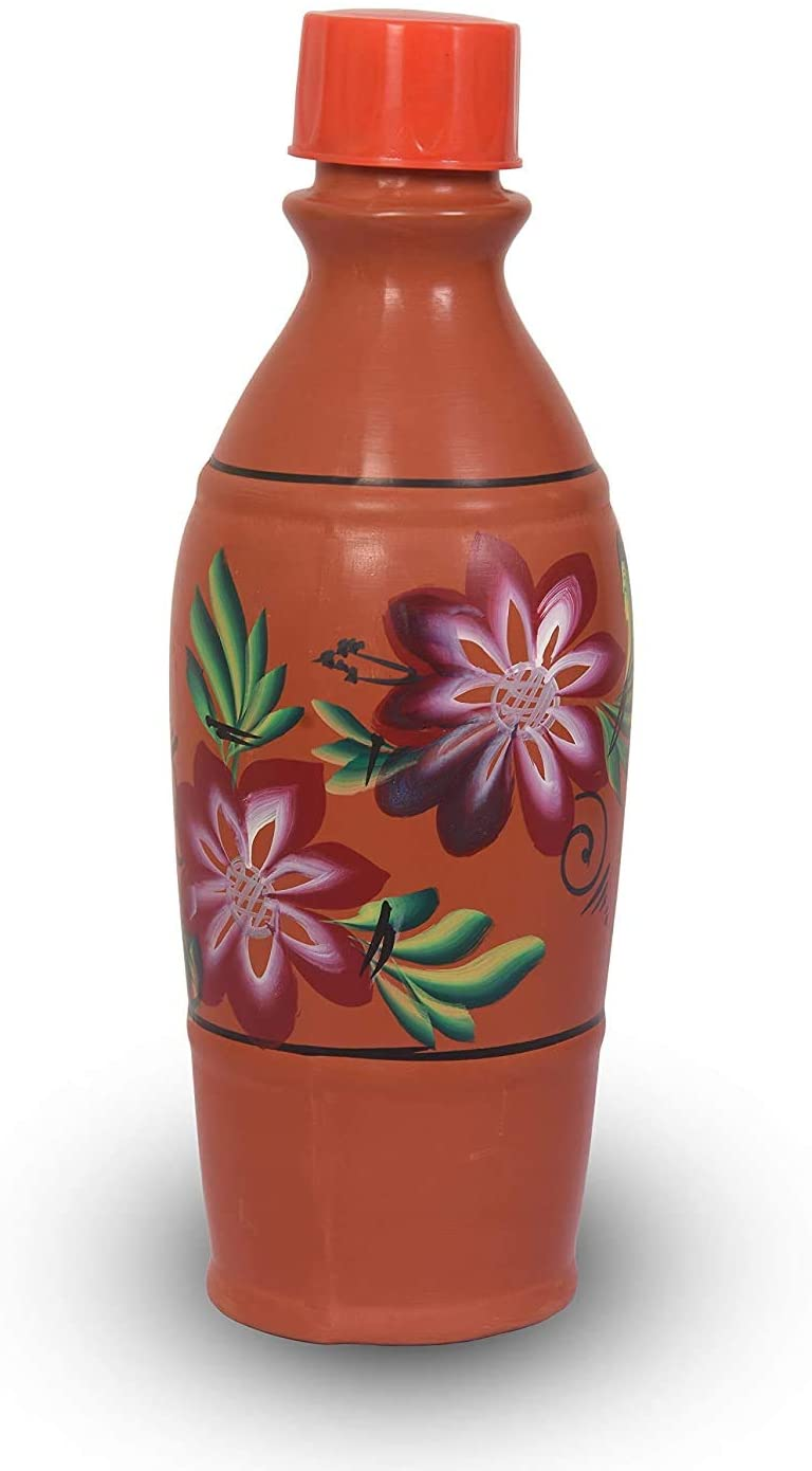 Rang Resha Pottery Art Earthen Clay Water Bottle 1 Litre with Plastic Thread and Cap