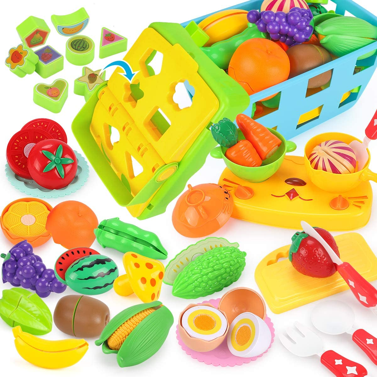 REMOKING Food Toy Set, STEM Fruits Vegetables Basket Toy, Funny Kitchen Pretend Cutting Play Food Set, Educational Tableware Recognition Blocks, Great Giftsfor Kids 3 Years and up(35 Pieces)