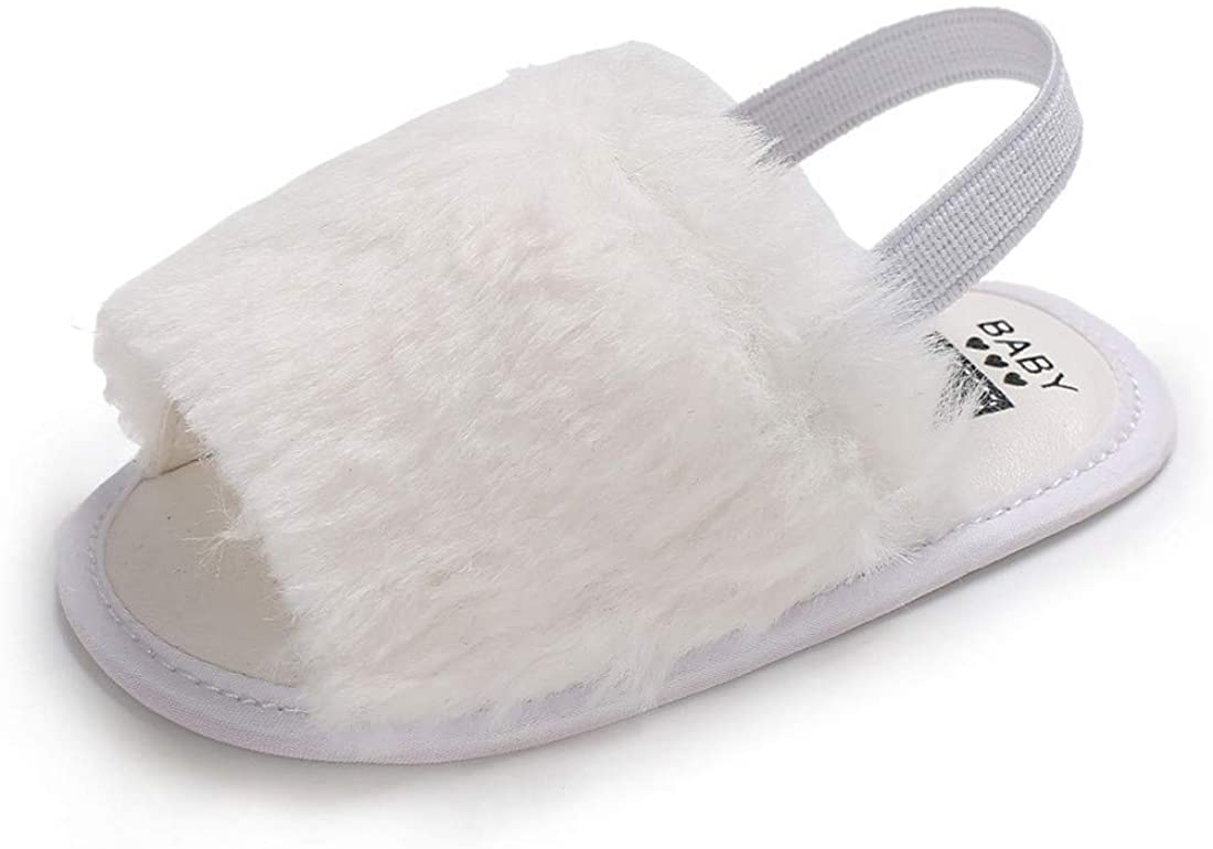 ENERCAKE Baby Girls Sandals Faux Fur Slides with Elastic Back Strap Flats Slippers Toddler Infant Crib Summer Slipper Shoes