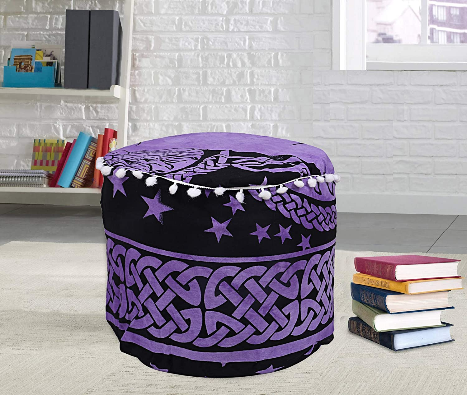 Janki Creation Indian Mandala Ottoman Pouf Cover Round Floor Pillow Ottoman Living Room Large Seating Floor Pillow Cover (18 x 18 x 13 Inch)