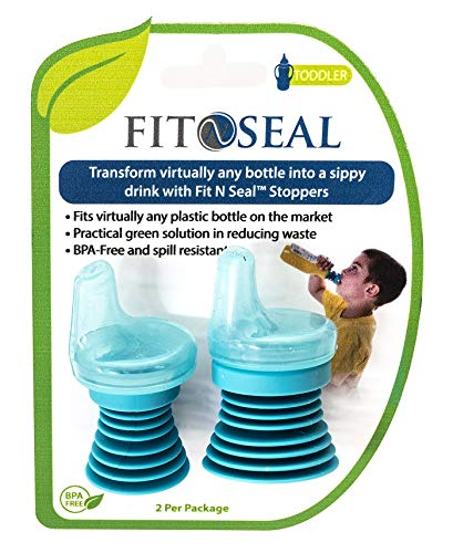 2-Pack of Fit N Seal Sippy Cup Bottle Top - Spill Proof Spout for Toddlers Drinking Water, Juice or Milk Plastic Bottles - Reusable, No BPA, Non-Leak Universal Lid for Travel - Gift for Boys and Girls