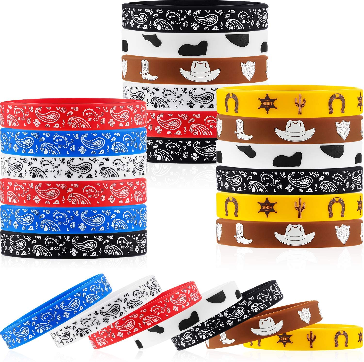35 Pieces Western Party Bracelets Cowboy Rubber Bracelets Silicone Stretch Wristbands for Western Themed Parties Boys Girls Birthday Parties