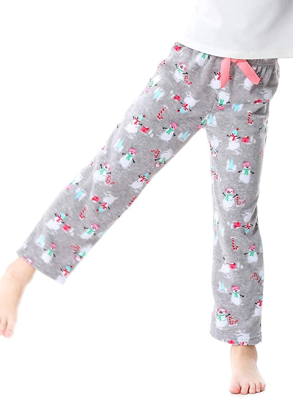 OLEH-OLEH Girls Pajama Pants, Flannel Lounge Pajama Bottoms, with Bow and Elastic Waist (Gray/Snowman, 4T)