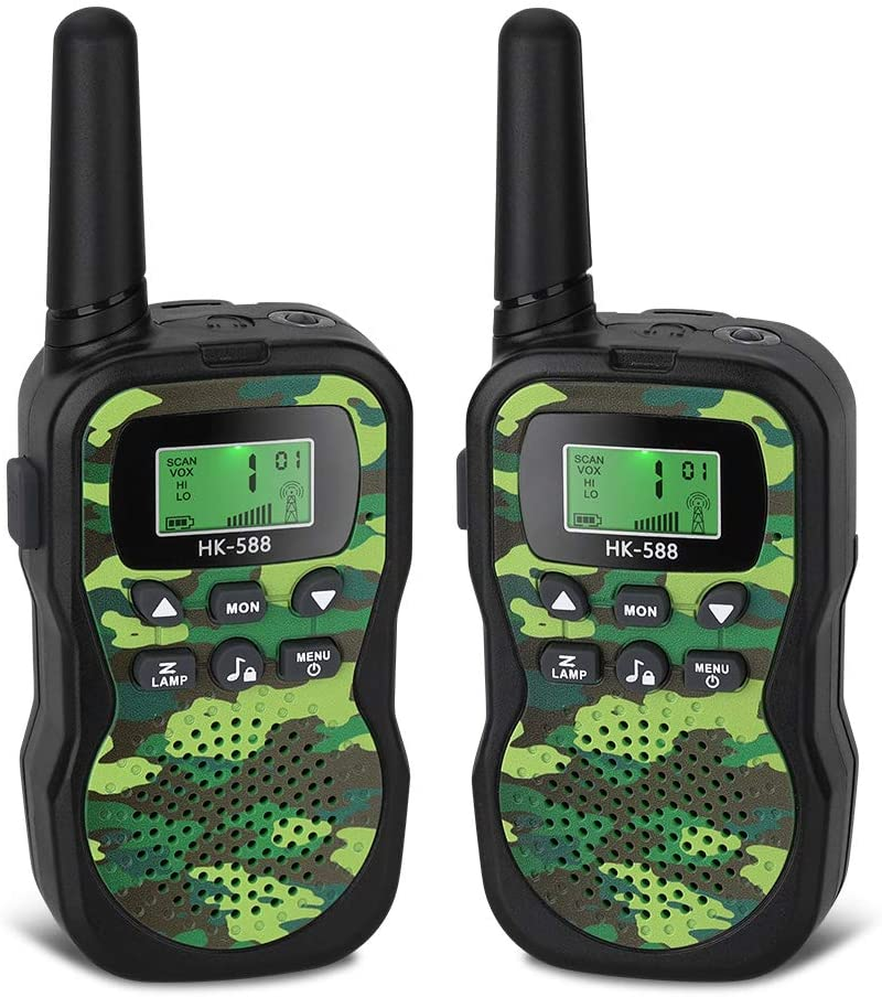 Foluu Kids Walkie Talkies, Little Walkie Talkies for Kids 22 Channels 2 Way Radio Toy with Backlit LCD Flashlight 3 Miles Range for Kids Best Gifts Outdoor Adventures Camping Hiking (Camo Green)