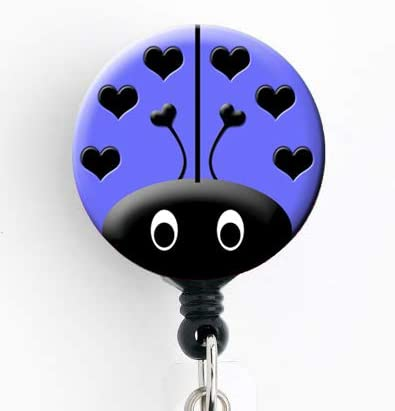 Ladybug Periwinkle - Retractable Badge Reel with Swivel Clip and Extra-Long 34 inch Cord - Badge Holder Cute Badge Reel