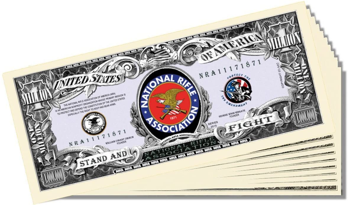 NRA Novelty Million Dollar Bill - Set of 10 with 1 Christopher Columbus Bill