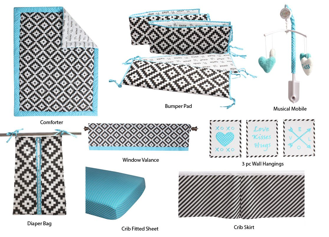Bacati - Love 10 pc Crib Set 100 Percent Cotton Percale Fabrics, Black/Turq Unisex (10 pc Crib Set with Bumper Pad)
