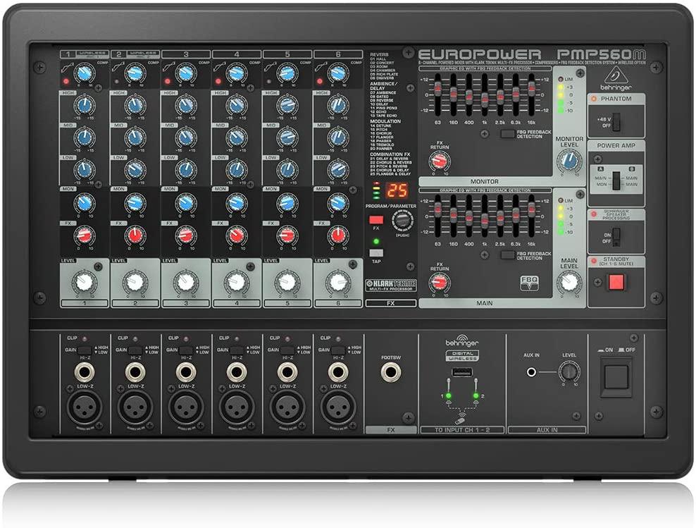 BEHRINGER, 6 PMP560M 500-Watt 6-Channel Powered Mixer with Klark Teknik Multi-Fx Processor Compressors Black
