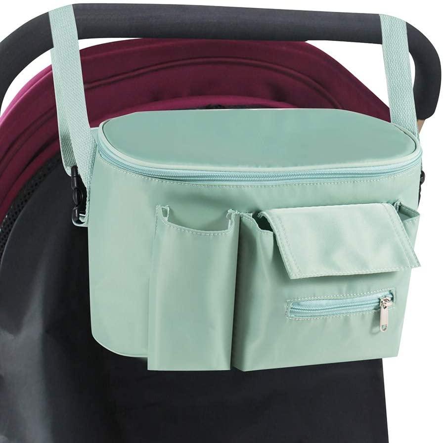 Baby Stroller Organizer Bag, Pram Organizer Storage Bag with Detachable Straps & Instant Access Wipe Pocket Universal Waterproof Diaper Bag Bottle Holder for Pushchair