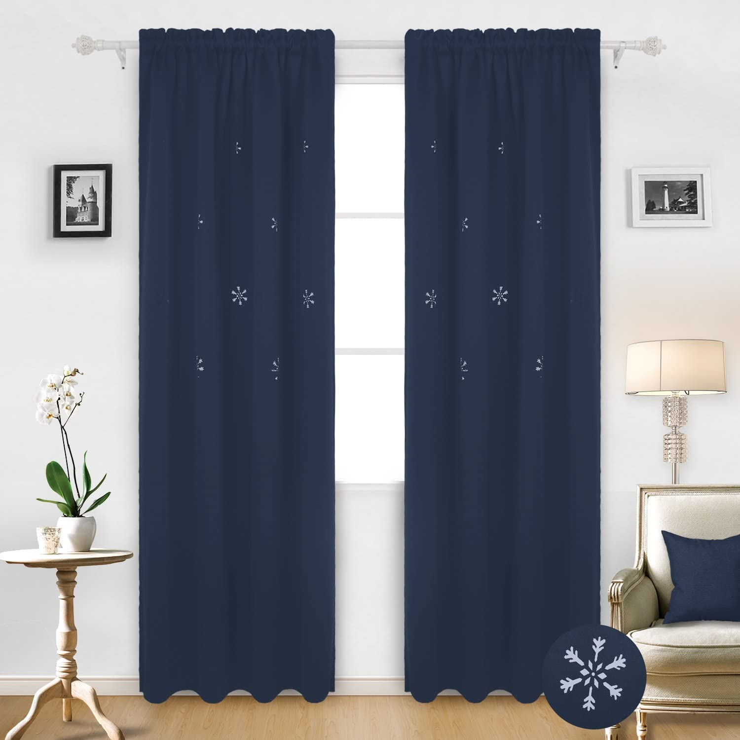 Deconovo Thermal Insulated Rod Pocket Christmas Blackout Curtains Snowflake Hollow Out Panels for Living Room, 52x95 Inch, Navy Blue