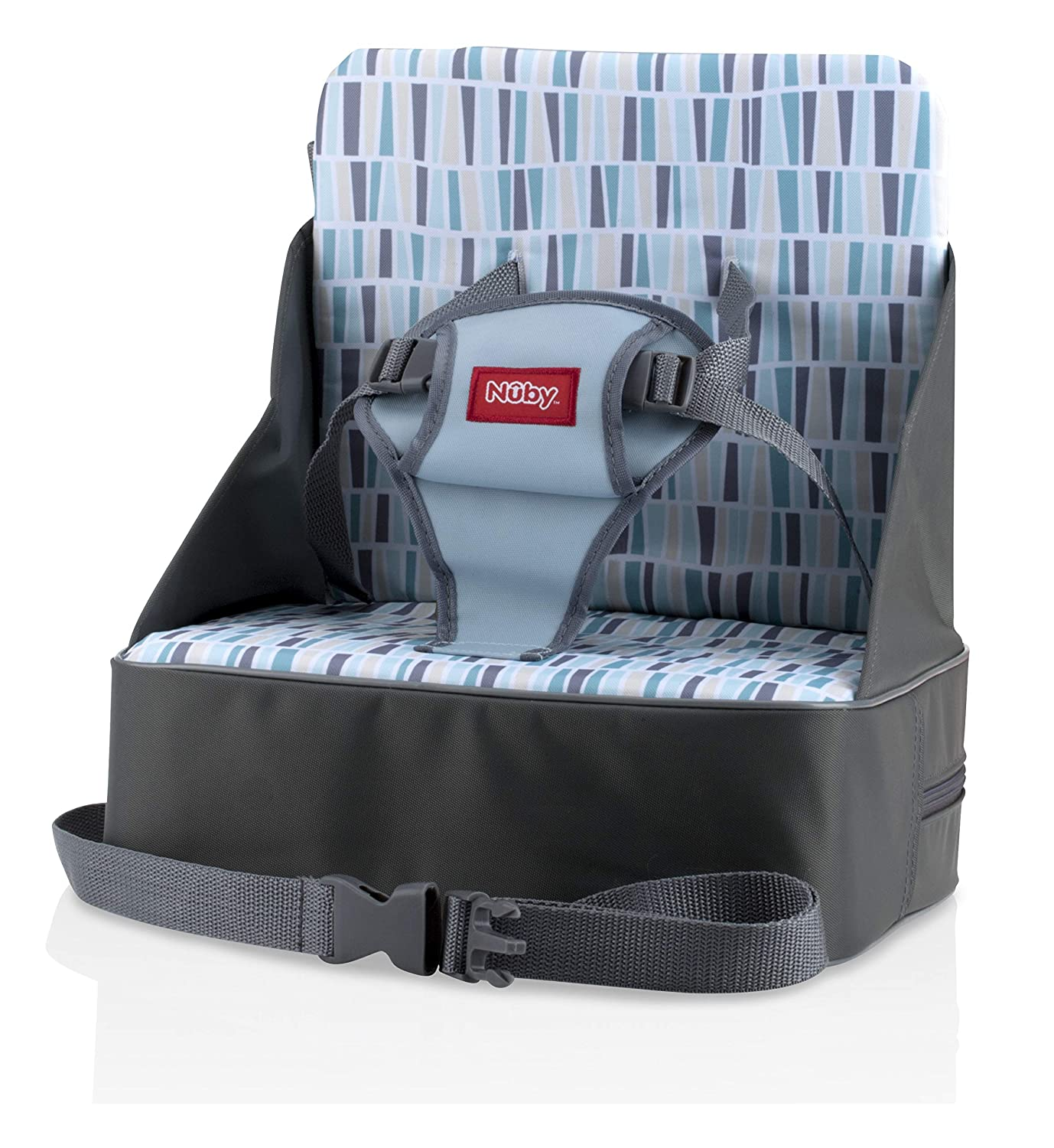 Nuby Easy Go Safety Lightweight High Chair Booster Seat, Great for Travel, Gray