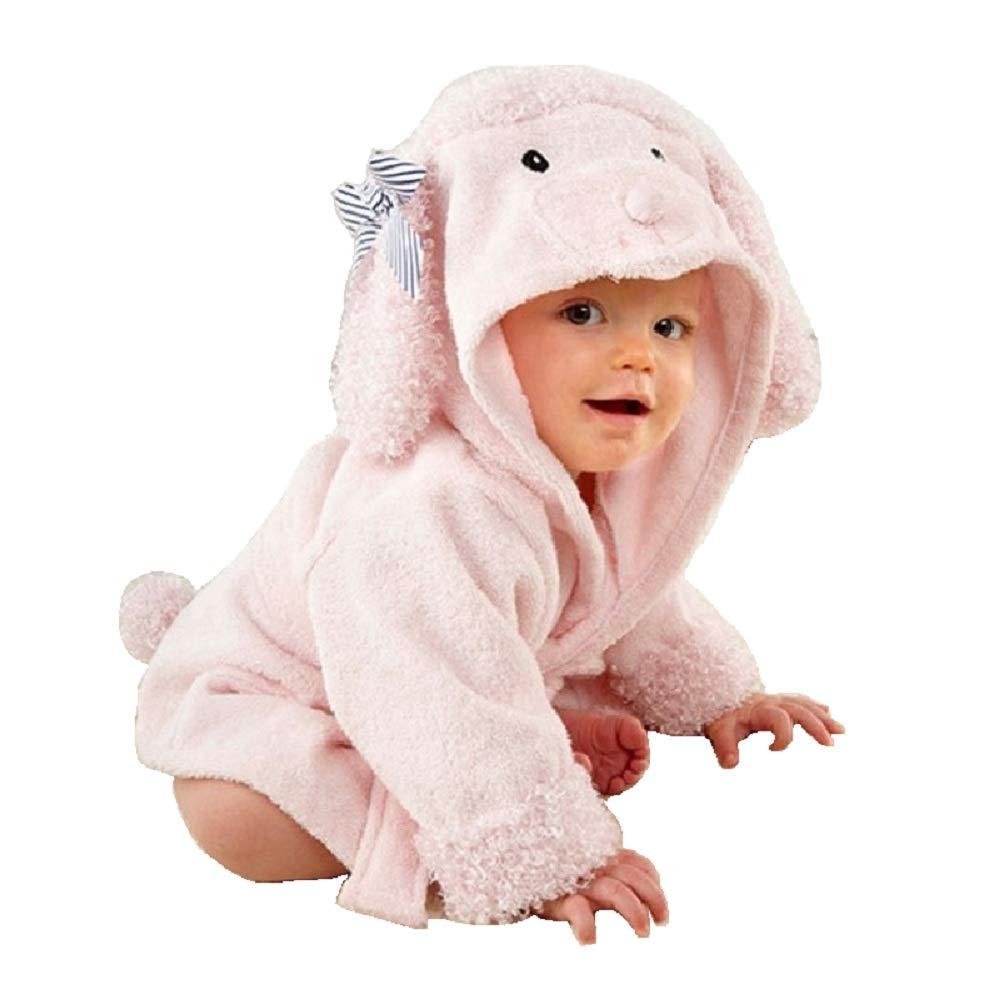 Hooyi Baby Girl Cute Pink Dog Hooded Towel Bathrobe spa Robe Towel (Pink, S)