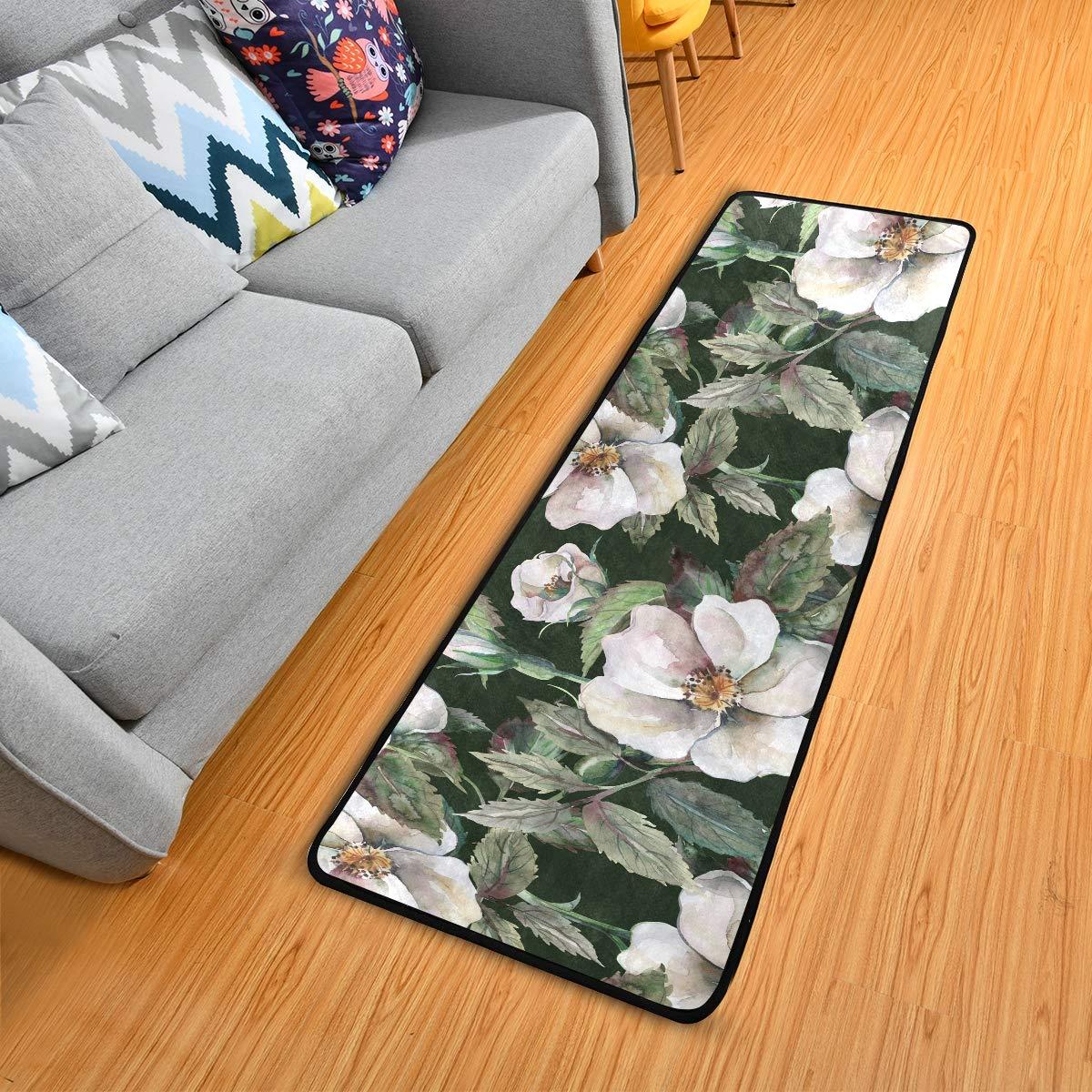 Hallway Runner Rug Rubber Backing - Flowers Runner Rug for Kitchen Rug Carpet Runner Non Skid Washable Rug Runner 2x6