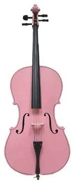 Merano 4/4 Full Size Pink Cello with Black Carrying Bag and Bow