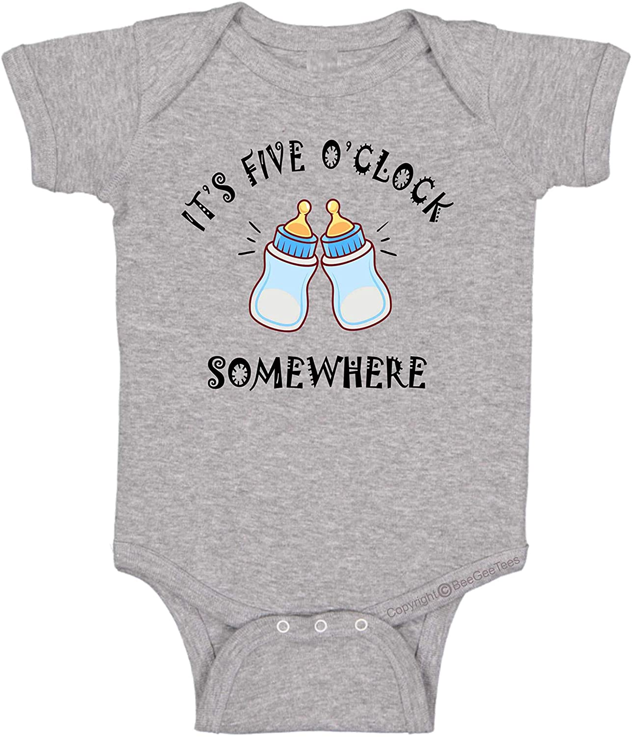 BeeGeeTees Funny Baby It's 5 o'clock Somewhere Infant Bodysuit Romper One Piece (Boys and Girls)