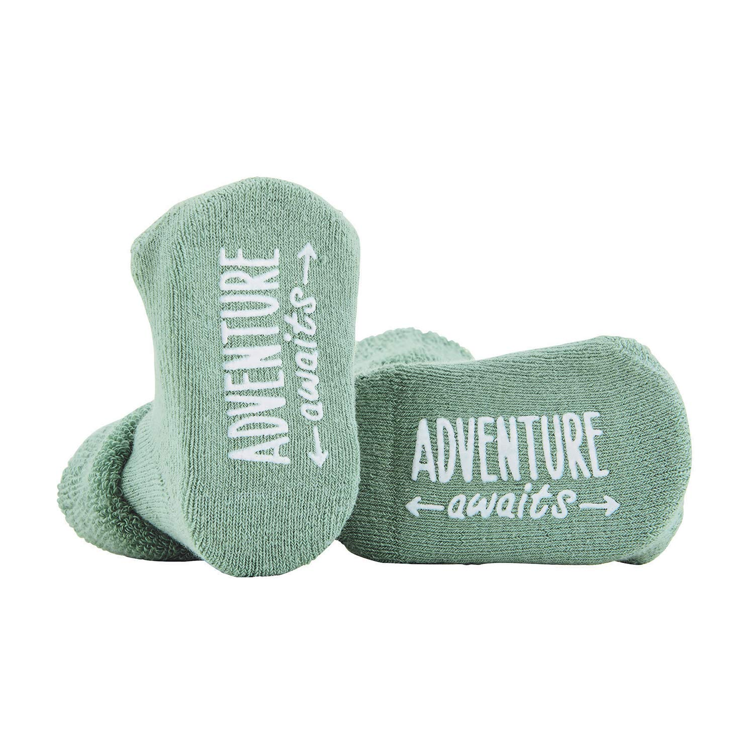 Stephan Baby Non-Skid Silly Socks with Cute Sayings, Adventure Awaits, Fits 3-12 Months