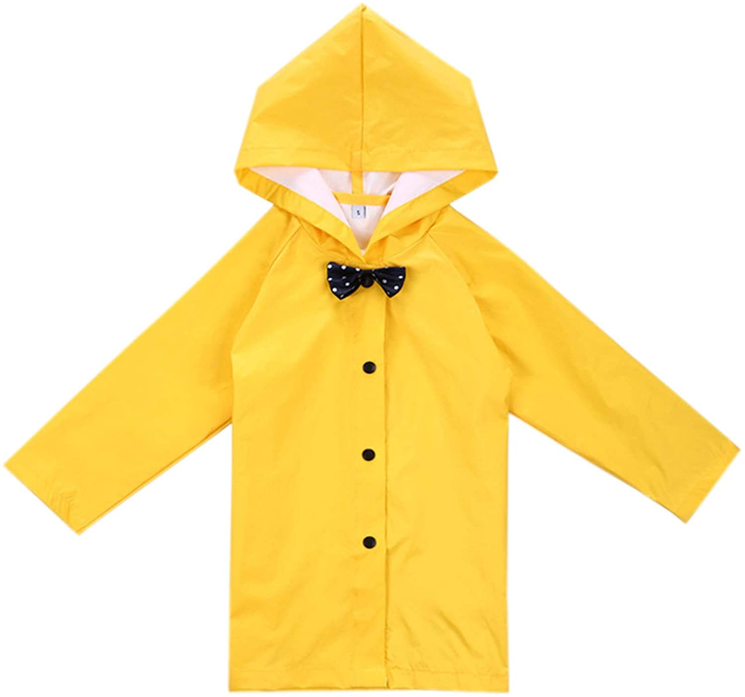 Age 2-10 Years Kids Hooded Button Down Long Jacket Bow Lightweight Raincoat
