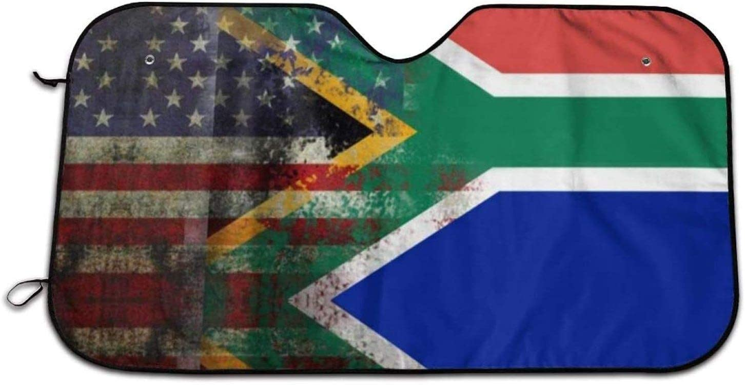 Thewar Retro American Flag of South Africa Car Windshield Sunshade Foldable Car Front Window Sunshade Sun Fit UV Ray Reflector Outdoor Vehicle Accessories