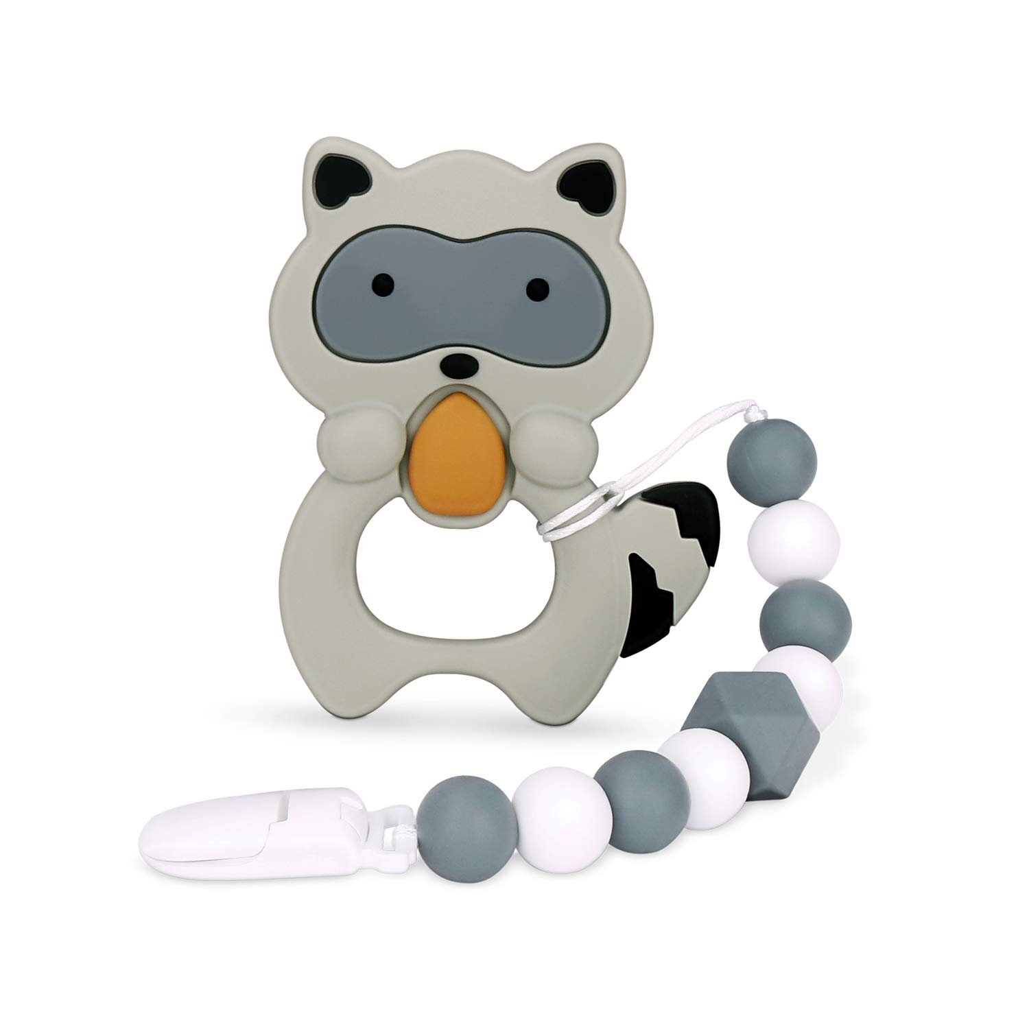 moopok Baby Teething Toys, Teething Pain Relief, Silicone Teether with Pacifier Clip Natural BPA Free Raccoon for Freezer - Best Newborn Shower Gifts for Trendy Boy or Girl…
