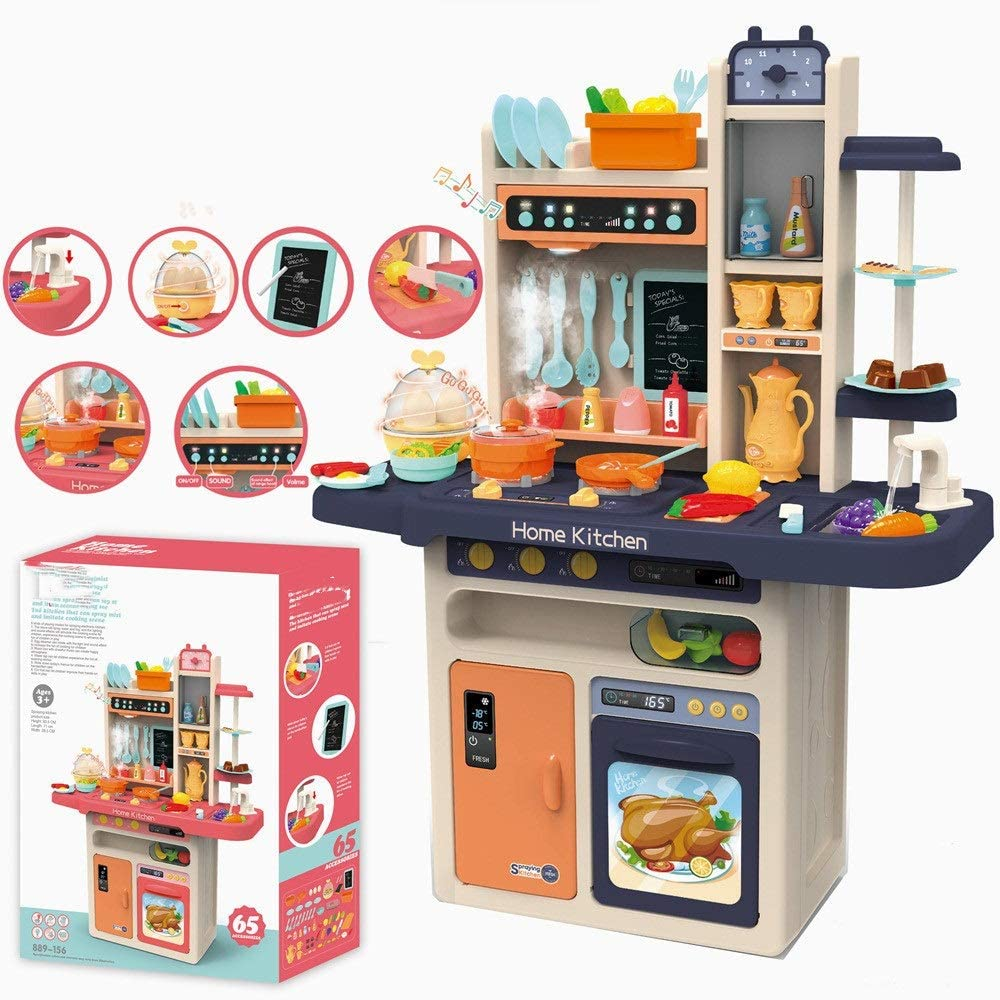 PUEEPDEE Kitchen Toy Fun with Friends Kitchen Play Kitchen Blue Kids Kitchen Playset Kitchen Accessories Set Kitchen Toys for Girls (Color : Blue, Size : 71x28.5x93.5cm)