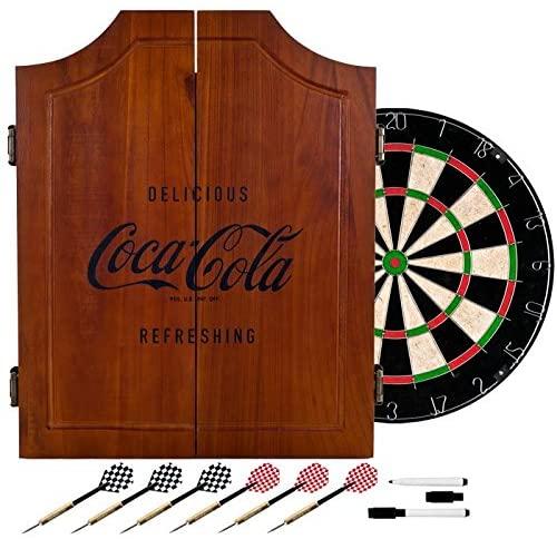 TMG Officially Licensed Vintage Coca Cola Design Deluxe Solid Wood Cabinet Complete Dart Set