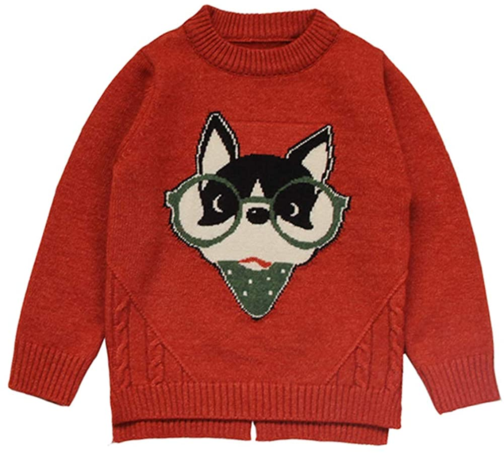 MAOMAHREWW Toddler Boys Long Sleeve Pull Over Sweater with Cure Cartoon Puppy Design