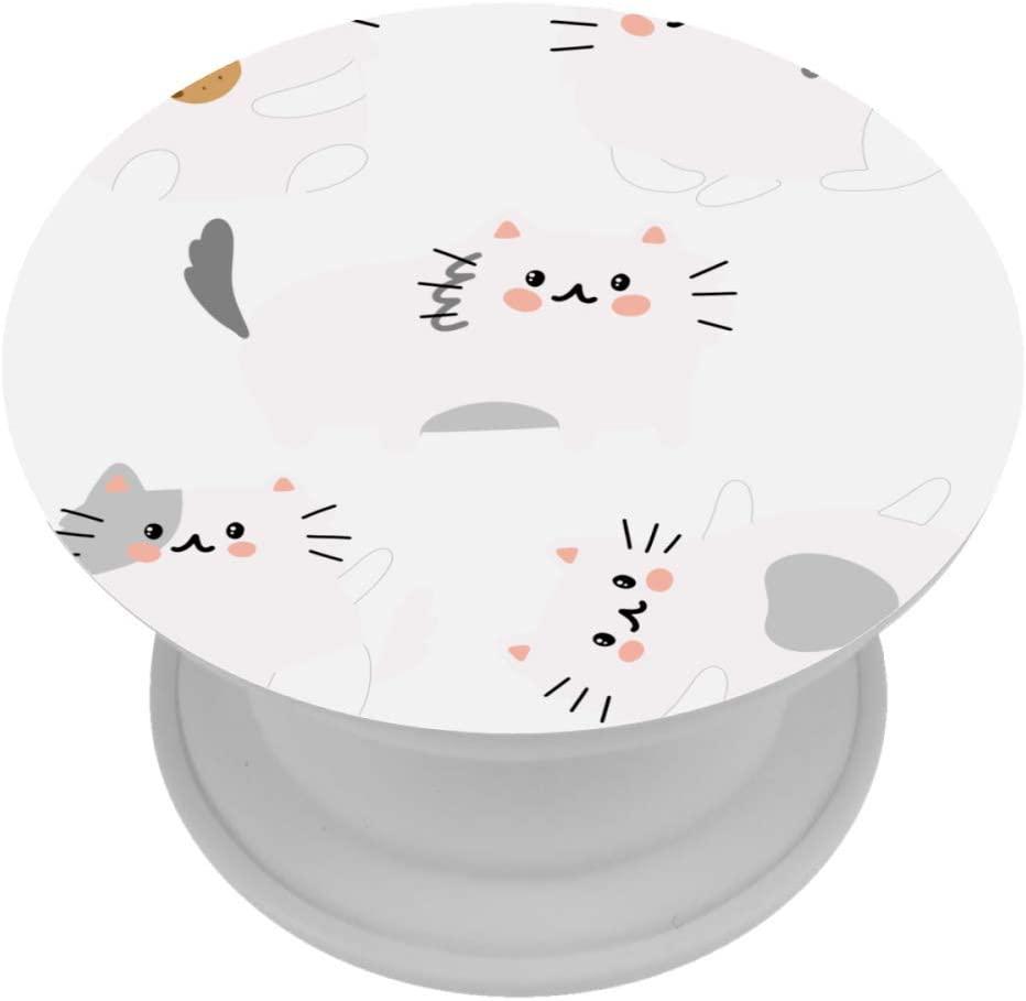 Cartoon Cat Black White Phone Mount Universal Folding Bracket Home Portable 4x4 cm