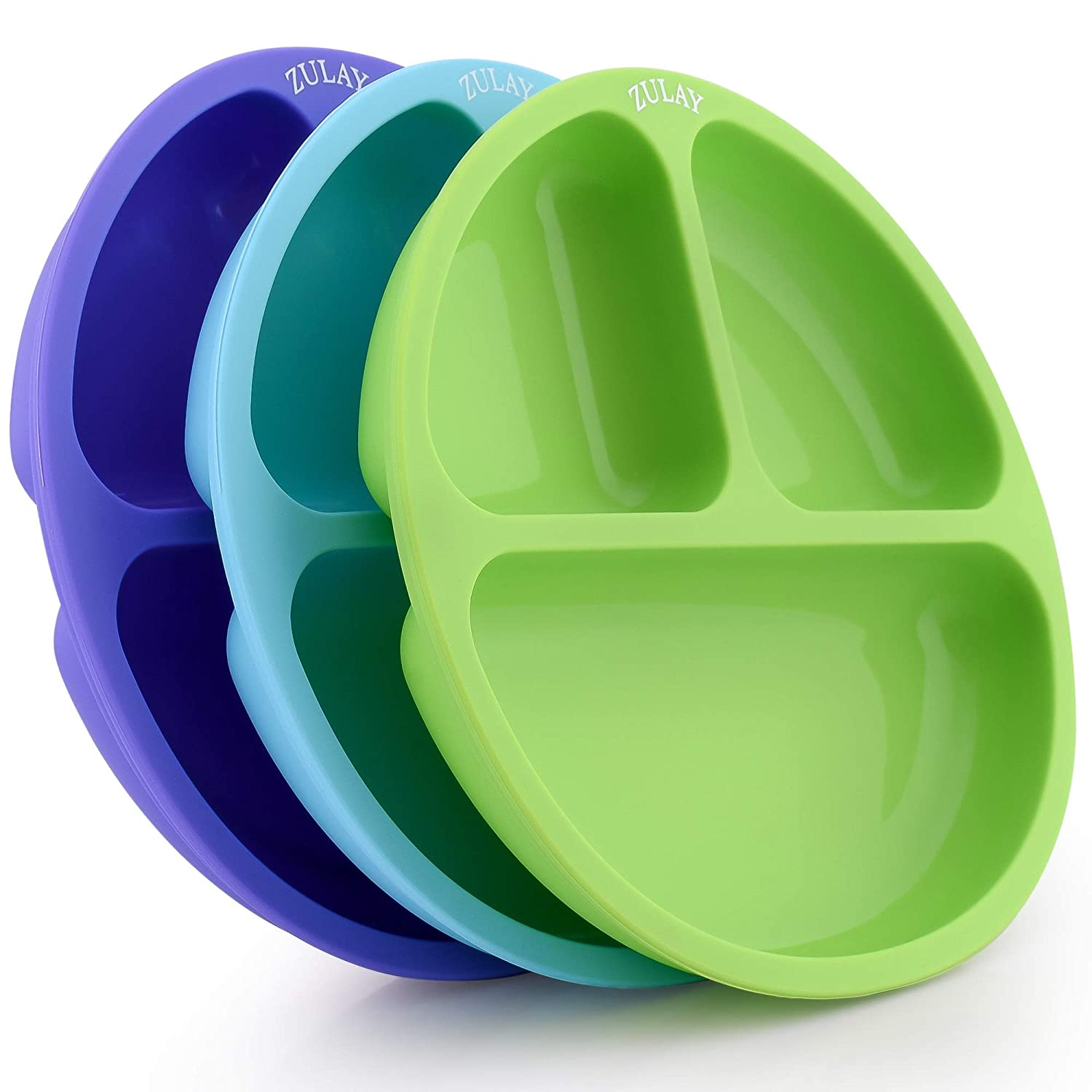 Zulay Silicone Divided Baby Plates (3pcs) - 100% Quality BPA Free Silicone Toddler Plates Divided Design - Dishwasher-Friendly Flexible Silicone Baby Plate - Purple, Green & Blue