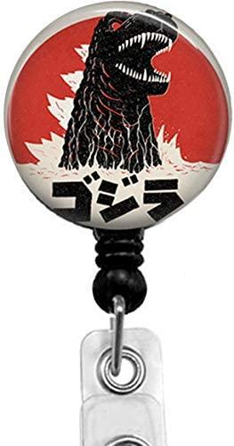 Godzilla Retractable ID Card Badge Holder with Alligator Clip, Medical Nurse Badge ID, Office Employee Name Badge