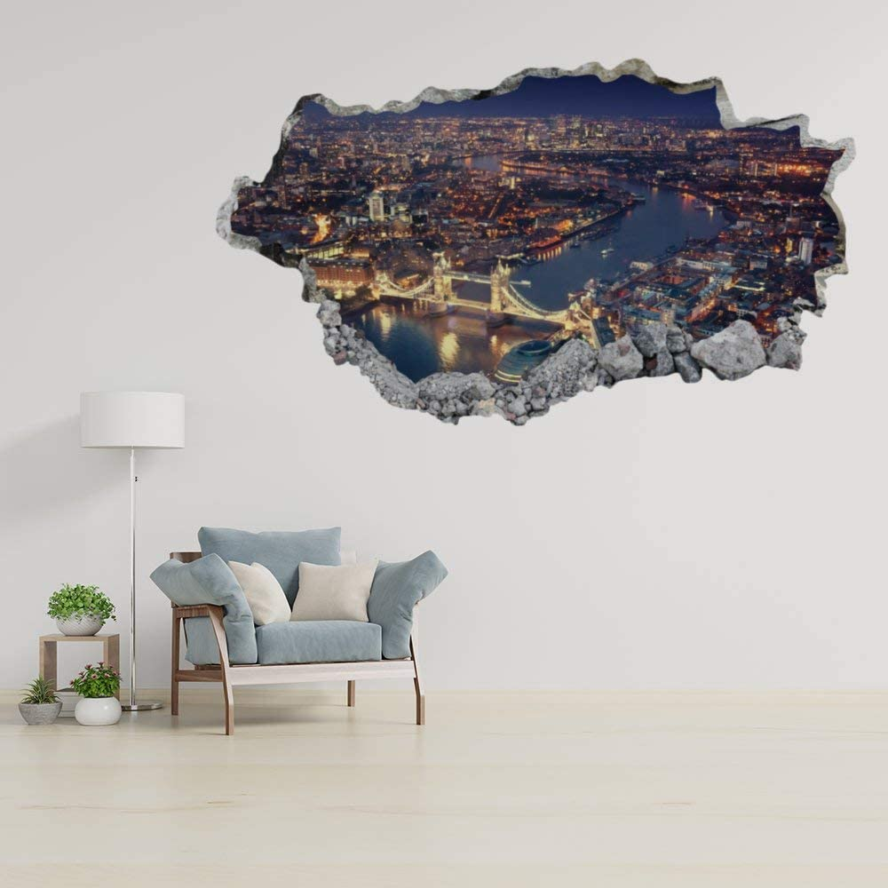 DONL9BAUER London Bridge Vinyl Stickers Removable Wall Decor Farm Animal 3D Smashed Wall Art Mural Poster Home Decal Skin for Kids Nursery Bedroom Living Room 20