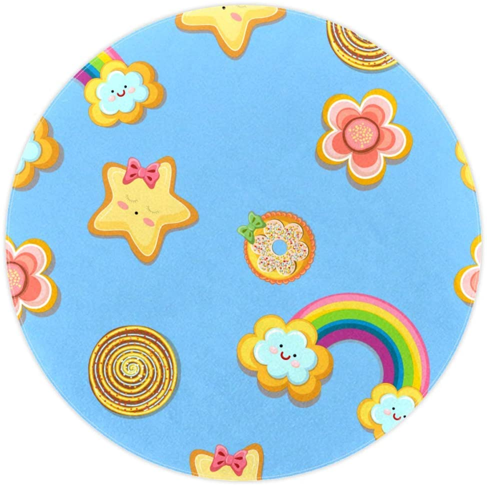 Rainbow Star Flower Baby Crawling mat Round Area Rug Home Decorative Carpet Soft and Washable Pad Non-Slip for Kids Toddler Infants Room 4feet