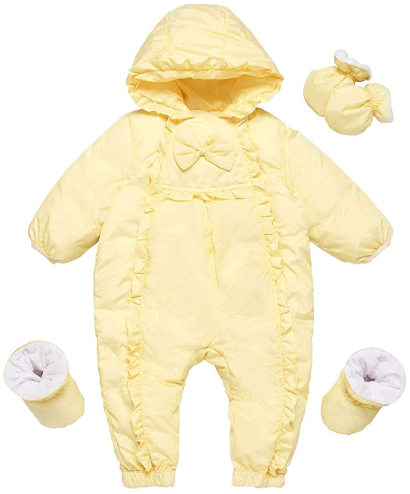 Ding-dong Baby Girl Winter Hooded Dot Bowknot Puffer Pram Snowsuit (Yellow,3-6M)
