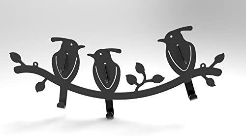 FixtureDisplays 6-Hook Bird-Design Black Wall Mounted Metal Rail/Garment Rack for Hanging Coats/Towels 16108!