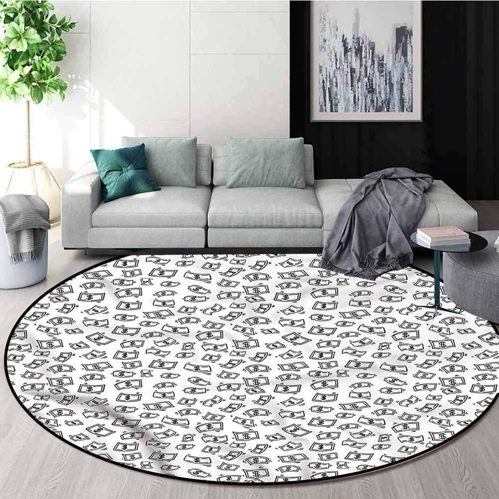 RUGSMAT Money Small Round Rug Carpet,Raining Dollar Bills Study Super Soft Carpet Round-31