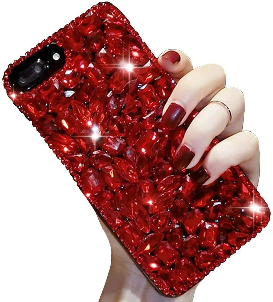Bling Diamond Case for Samsung Galaxy A71,Aearl 3D Homemade Luxury Sparkle Crystal Rhinestone Shiny Glitter Full Clear Stones Back Phone Cover with Screen Protector -All Red