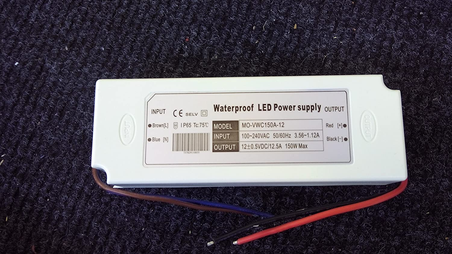 Moluce LED IP67 power supply 150W 12VDC,3 years waranty,>35USD free shipping in USA