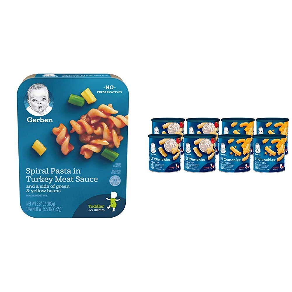 Gerber Spiral Pasta in Turkey Meat Sauce with a side of Green and Yellow Beans, 6.67 oz., 8 Count & Lil Crunchies, Mild Cheddar & Veggie Dip, 8 Count