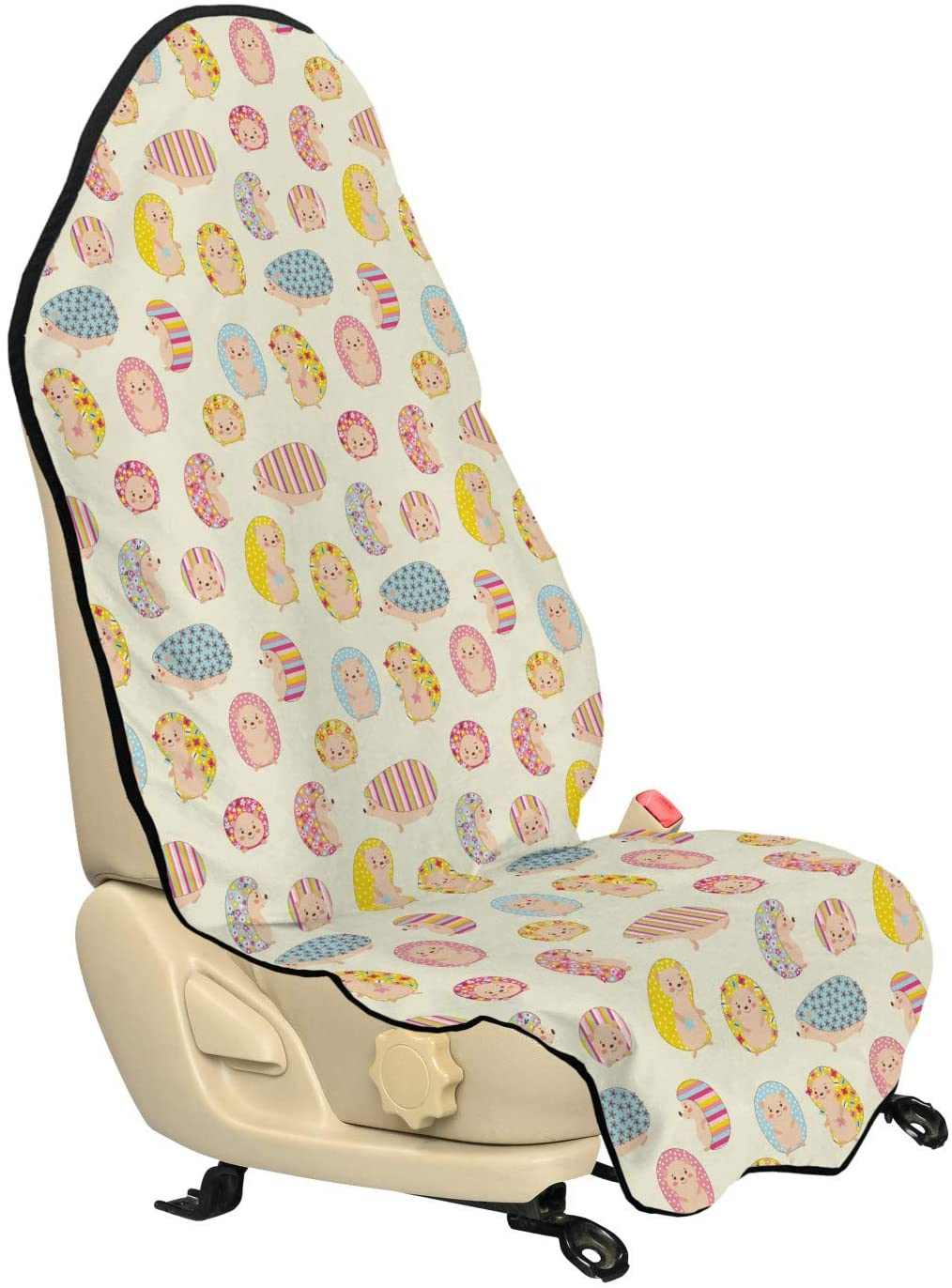 Ambesonne Hedgehog Car Seat Hoodie, Smiling Baby Characters with Dotted Floral and Striped Prints Kids Toddler Nursery, Car Seat Cover Protector Non Slip Backing Universal Fit, 30