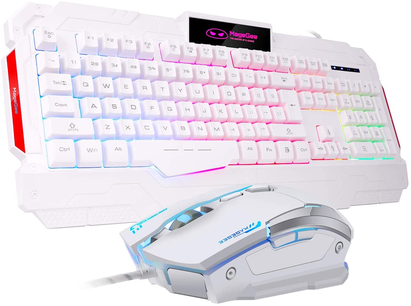 GK806 Wire USB Gaming Keyboard and Mouse Combo — Keyboard and Mouse Included, Breathing LED Backlit Keyboard and Mouse Set, Gaming Mouse and Keyboard Silent 104 Key with Wrist Rest for Windows PC Game