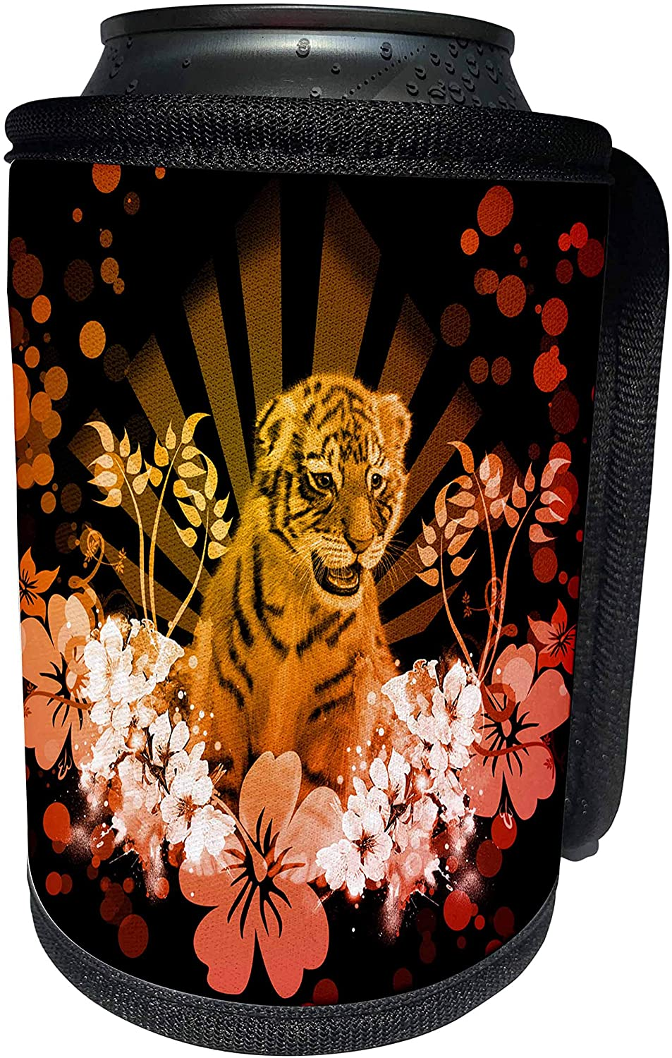 3dRose Heike Köhnen Design Animal - Cute little tiger baby - Can Cooler Bottle Wrap (cc_280508_1)