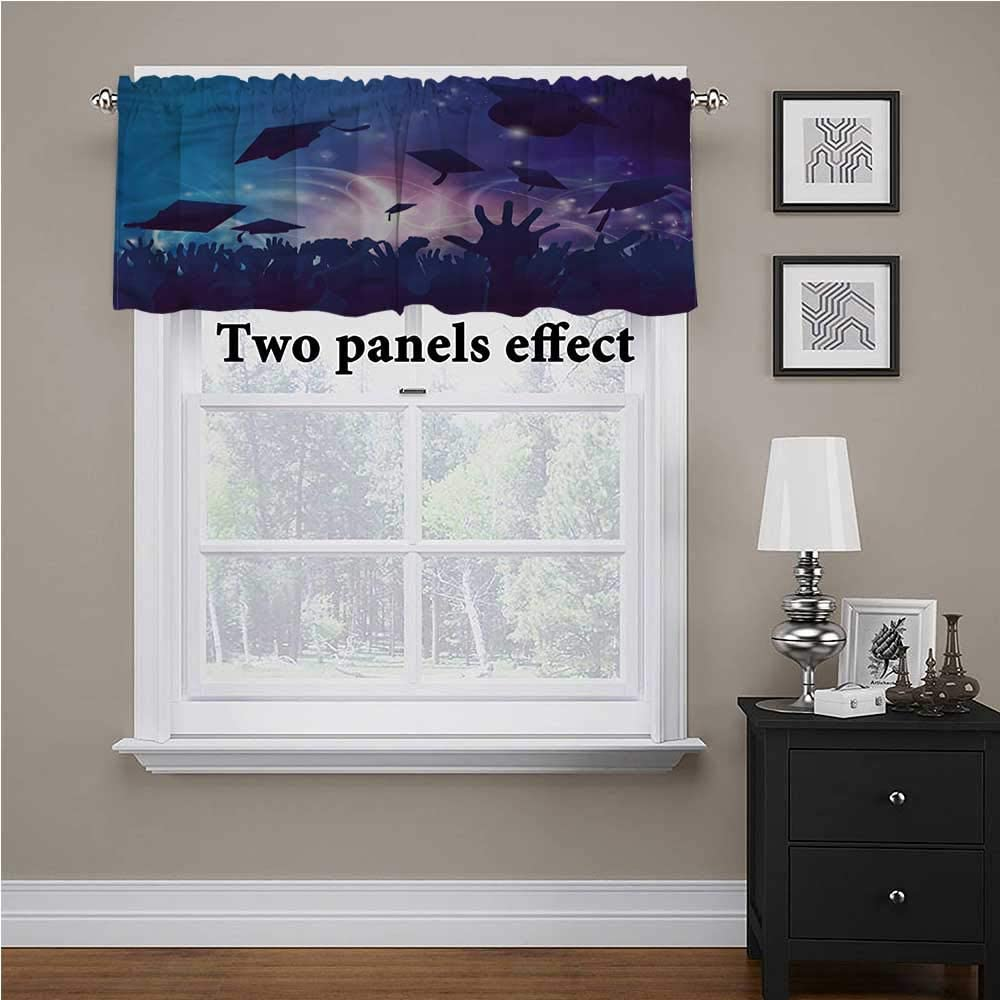 shirlyhome Graduation valances for Bedroom Hands Throwing Caps for Kids Room/Baby Nursery/Dormitory, 56 Inch by 14 Inch 1 Panel
