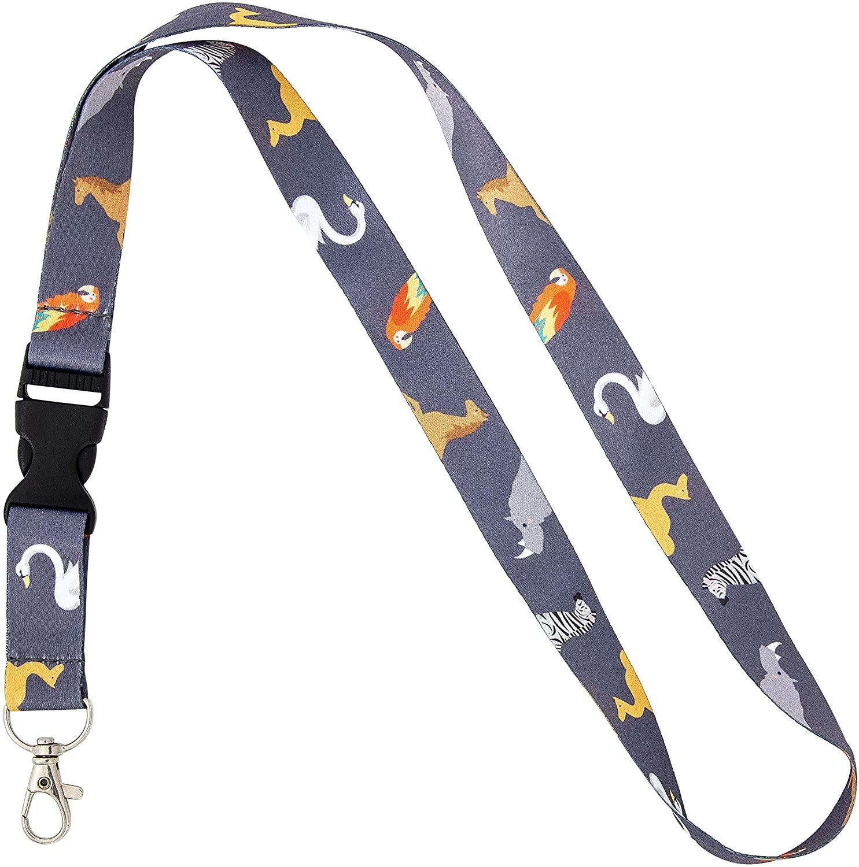 Zoo Animals Lanyard Badge ID Car Keys Keychain Souvenir Holder Nurse Doctor Teacher Office Detachable Breakaway Snap Buckle (Design 1)