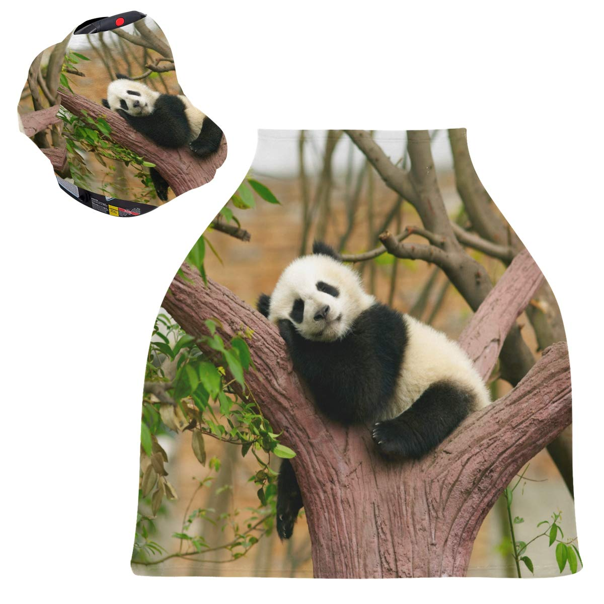 Stretchy Baby Car Seat Canopy - Sleeping Giant Panda Baby Infant Stroller Cover Multi Use Baby Car Seat Covers Nursing Cover for Girl