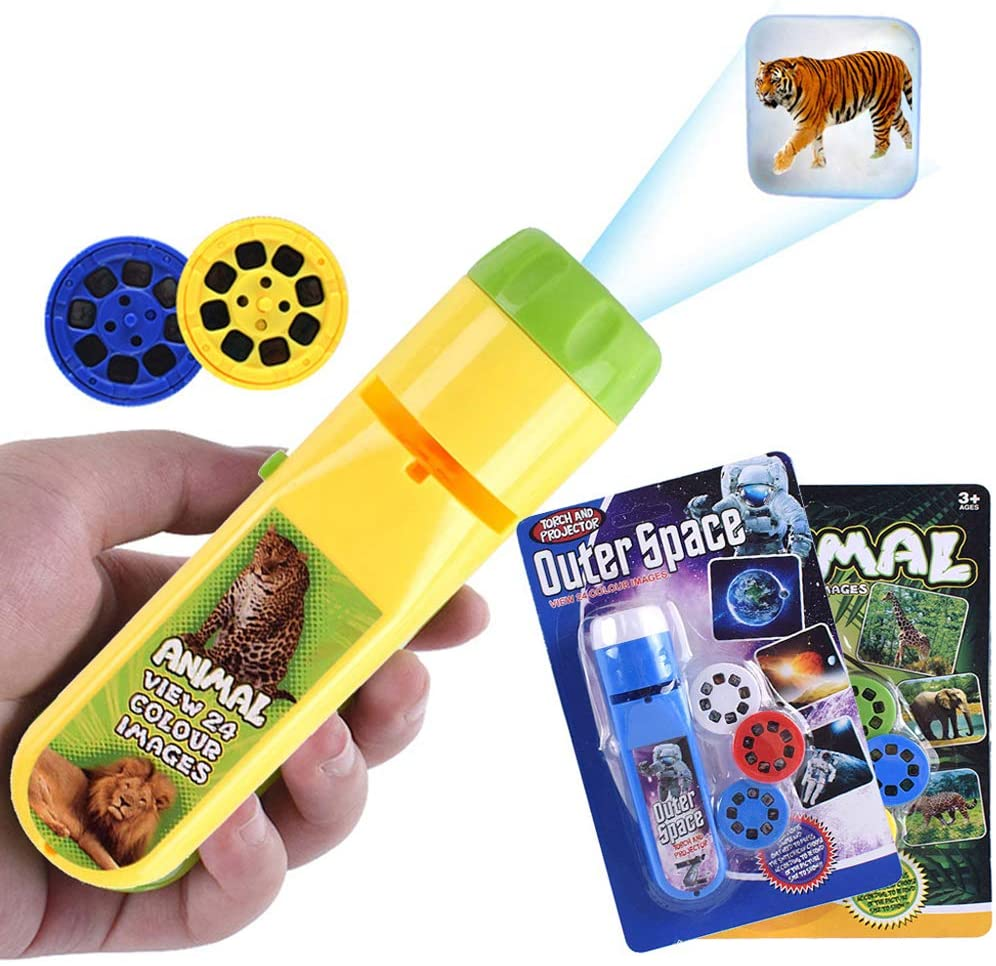 Wenosda Slide Projector Torch Projection Light Small Torches lamp Flashlight Educational Learning Bedtime Night Light for Child,Kids,Infant,Toddler,Children (64 Images,2set, Space +Animal World)