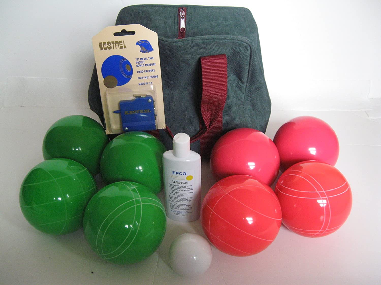 Epco Premium Quality Basic Bocce Package - 110mm Green and Light Red Balls, Quality Nylon Bag...
