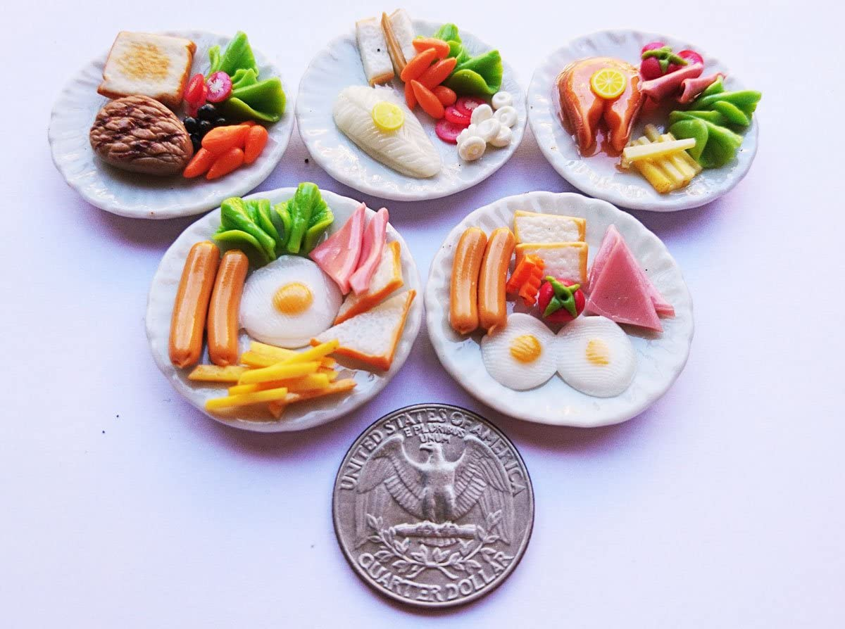Thai 5 Mix Breakfast Egg & Steak Dollhouse Miniature Food,Tiny Food, Doll Collectibles,Doll Food
