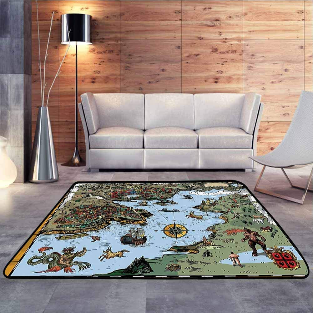 Floor Mat Antique Map with Rivers and Land Full of Monsters Pirates Giant Creatures Baby Floor Playmats Crawling Mat for Living Room Kids Room, 5 x 7 Feet
