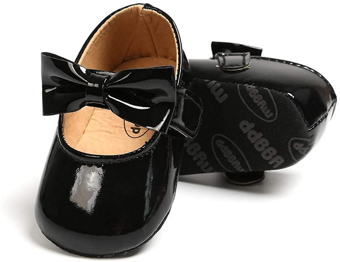 KIDSUN Baby Girl Shoe Mary Jane Flats Princess Dress Sparkly Bow Newborn Birthday Crib Shoe Soft Sole Intant First Walkers Shoe